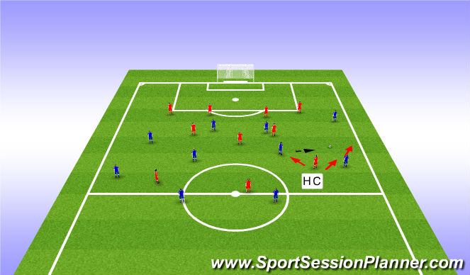 Football/Soccer Session Plan Drill (Colour): Out of possession