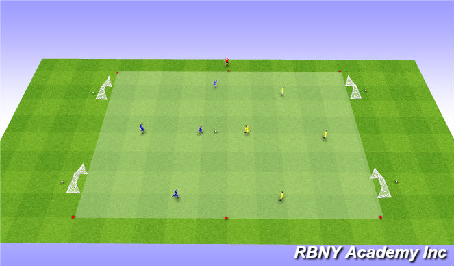 Football/Soccer Session Plan Drill (Colour): Condition - 4 goal game
