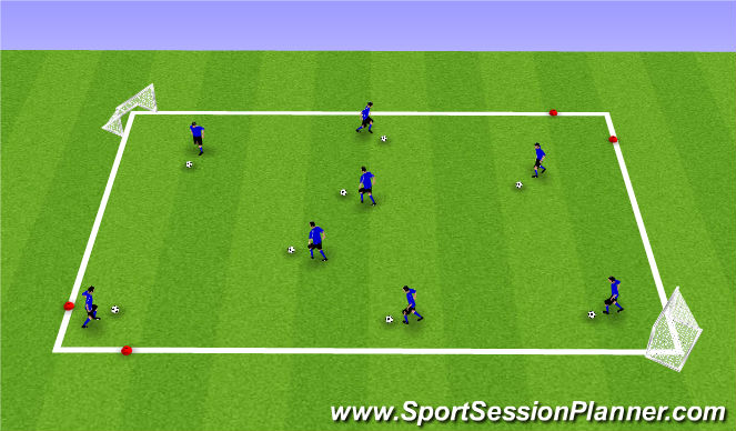 Football/Soccer Session Plan Drill (Colour): Dribble in a Box then find a Goal