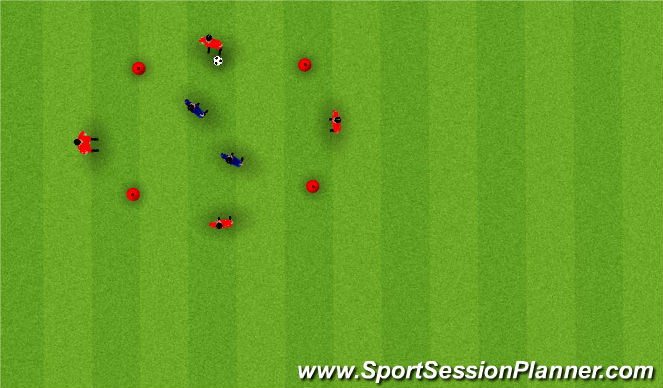 Football/Soccer Session Plan Drill (Colour): 4vs2