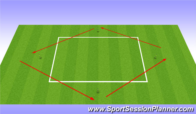 Football/Soccer Session Plan Drill (Colour): Diamond Runs x 4
