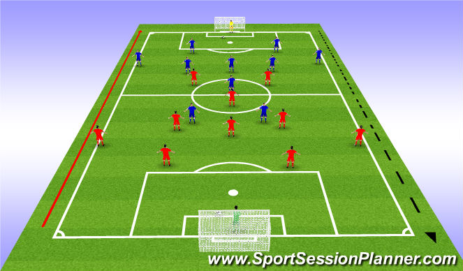 Football/Soccer Session Plan Drill (Colour): Team Shape Passing Drill