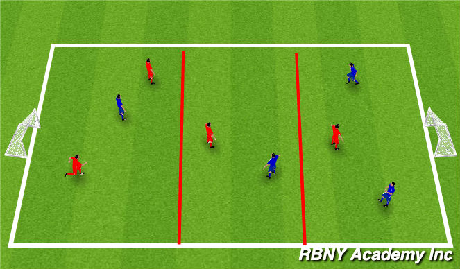 Football/Soccer Session Plan Drill (Colour): Conditioned Game-3 zones