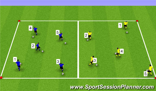 Football/Soccer Session Plan Drill (Colour): #'s Knockout