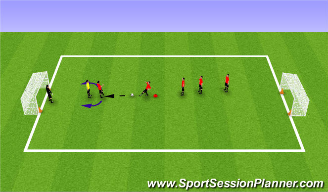 Football/Soccer Session Plan Drill (Colour): Recieving back to goal - 1v1