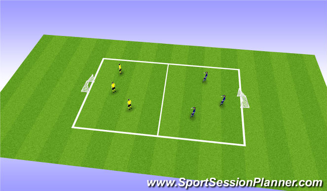 Football/Soccer Session Plan Drill (Colour): 3v3 Game (30 minutes)