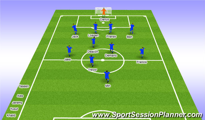 Football/Soccer Session Plan Drill (Colour): 1st Half Sub - 12min