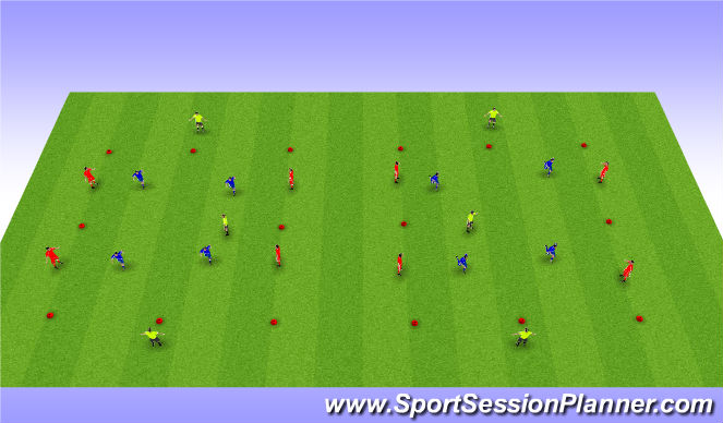 Football/Soccer Session Plan Drill (Colour): 4v4+3 positional