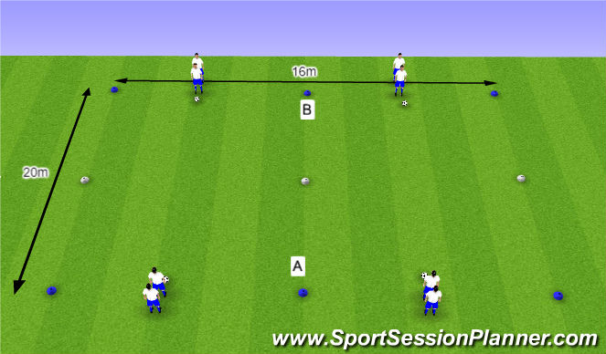 Football/Soccer Session Plan Drill (Colour): O10 - W36 (1) - H4 Halve draaien