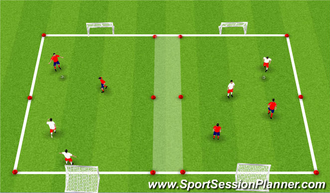 Football/Soccer Session Plan Drill (Colour): 2v1 Overload Game