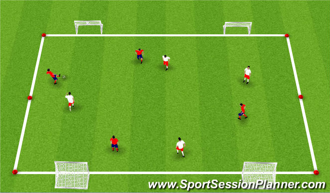 Football/Soccer Session Plan Drill (Colour): 4v4 to 2 goals Game