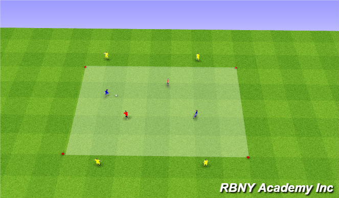 Football/Soccer Session Plan Drill (Colour): Main - 2v2+4