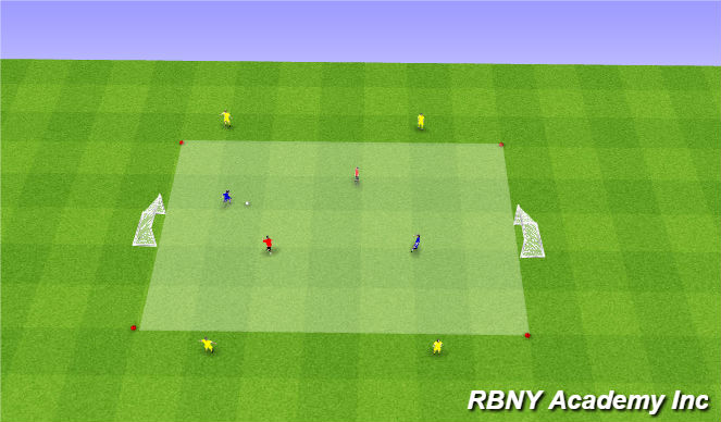 Football/Soccer Session Plan Drill (Colour): Condition - 2v2+4