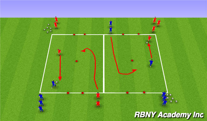 Football/Soccer Session Plan Drill (Colour): 1v2 Recovery defender