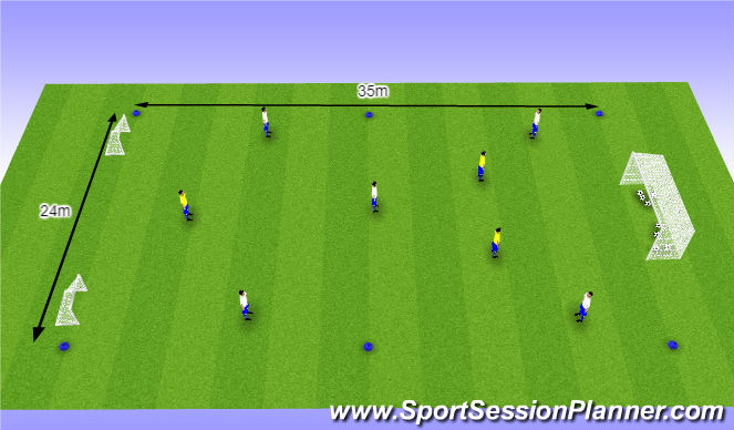 Football/Soccer Session Plan Drill (Colour): O10 - W36 (1) - Opbouwen