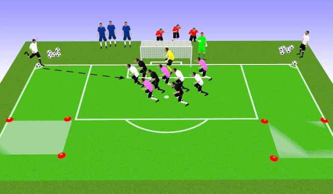 Football/Soccer Session Plan Drill (Colour): World Cup Crossing Game