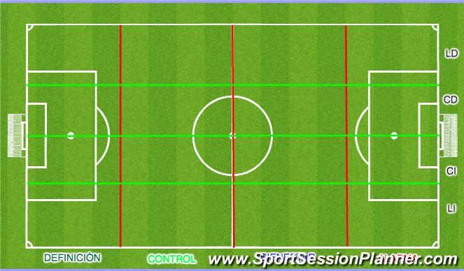 Fútbol Ejercicio del Plan de Sesiones (Color): División campo FCB