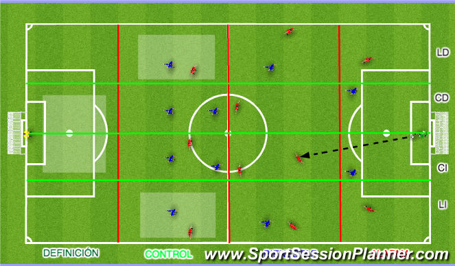 Football/Soccer Session Plan Drill (Colour): División campo FCB