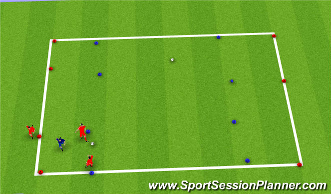Football/Soccer Session Plan Drill (Colour): 3v1 with four cones