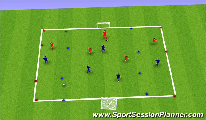 Football/Soccer Session Plan Drill (Colour): 5v5 wide channels