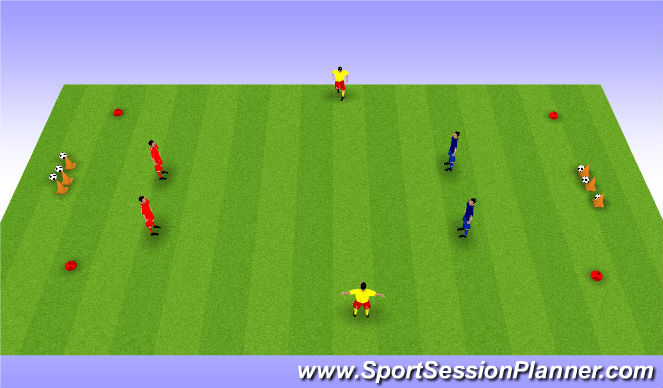 Football/Soccer Session Plan Drill (Colour): 2 v 2 with supo;port players