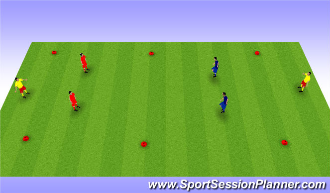 Football/Soccer Session Plan Drill (Colour): 2 v 2 to Targets