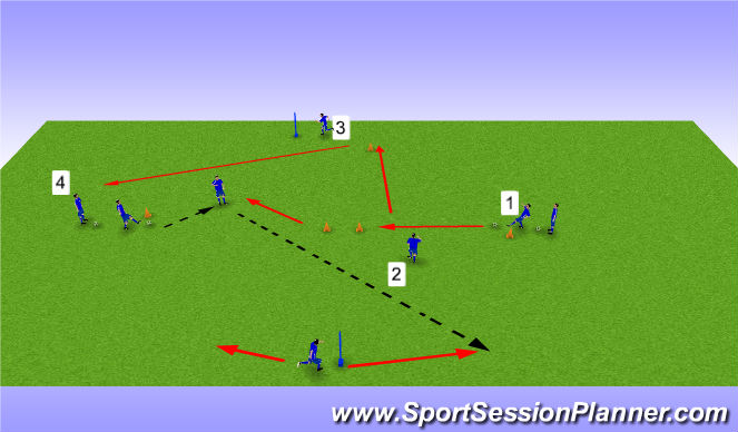 Football/Soccer Session Plan Drill (Colour): Short to Long