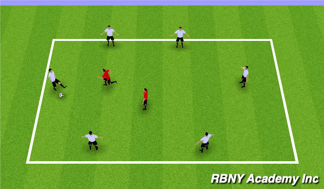 Football/Soccer Session Plan Drill (Colour): 6v2 defensive rondo's