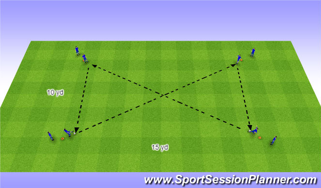 Football/Soccer Session Plan Drill (Colour): Rectangle Passing Pattern 1