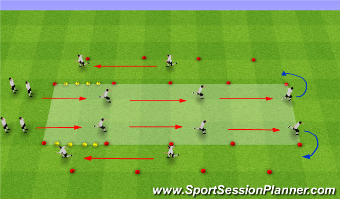 Football/Soccer Session Plan Drill (Colour): FIFA 11+ - WARM UP
