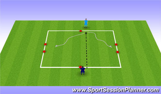 Football/Soccer Session Plan Drill (Colour): 1 v 1 To Side Gates