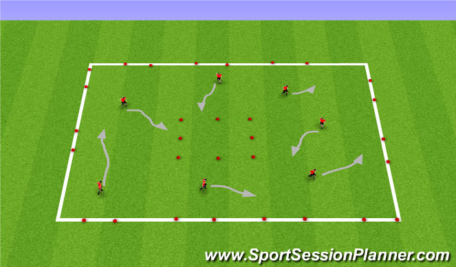 Football/Soccer Session Plan Drill (Colour): Dribbling Square with Gates