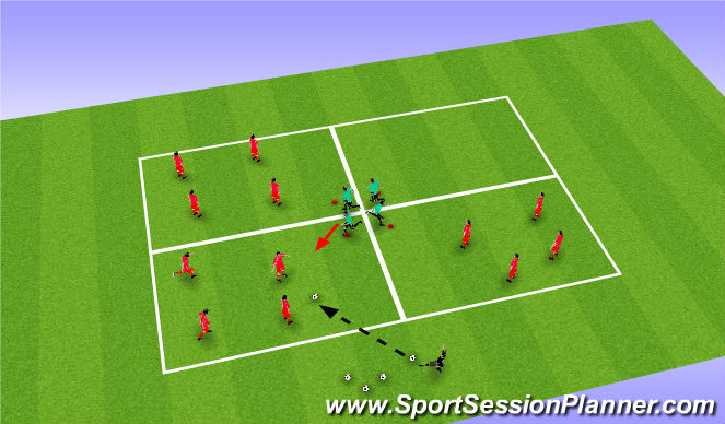 Football/Soccer Session Plan Drill (Colour): Posession transfer