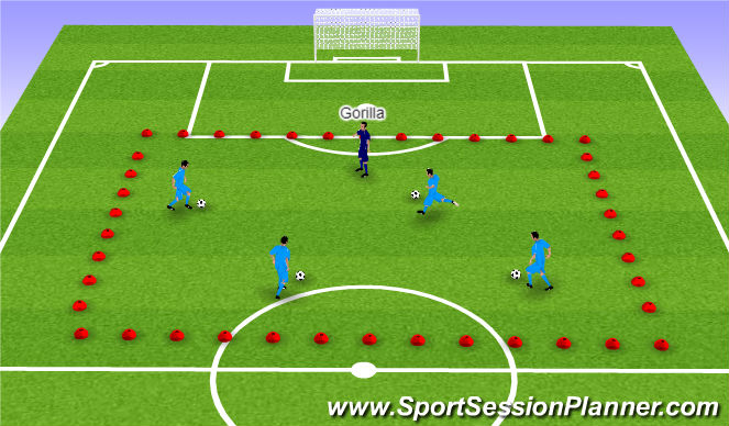 Football/Soccer Session Plan Drill (Colour): Catch the Gorilla