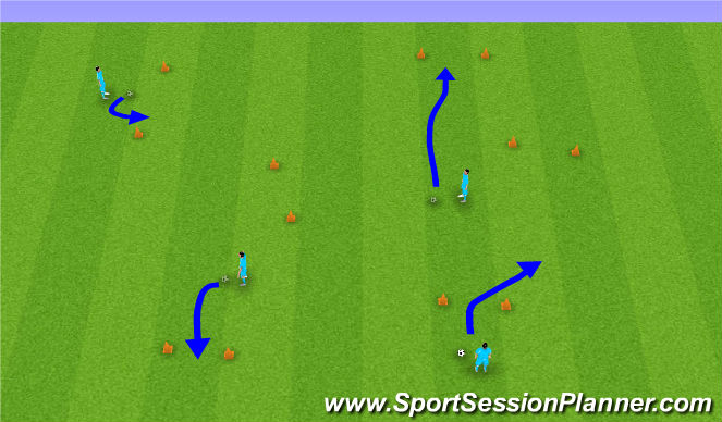 Football/Soccer Session Plan Drill (Colour): Warm-Up/ Skill intro