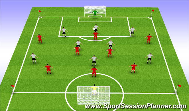 Football/Soccer Session Plan Drill (Colour): Match - 9v9