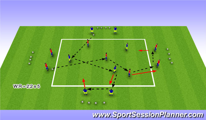 Football/Soccer Session Plan Drill (Colour): Passing + Warm Up