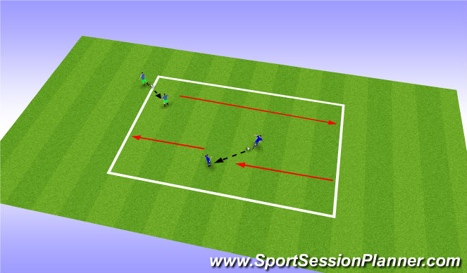 Football/Soccer Session Plan Drill (Colour): Passing down field