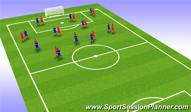 Football/Soccer Session Plan Drill (Colour): Man vs Man possession