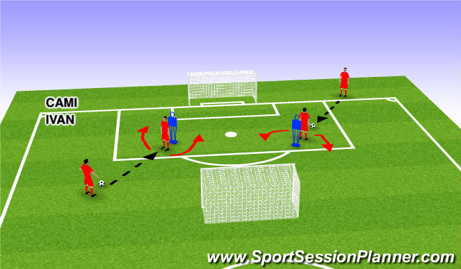 Football/Soccer Session Plan Drill (Colour): Turning Back to Goal