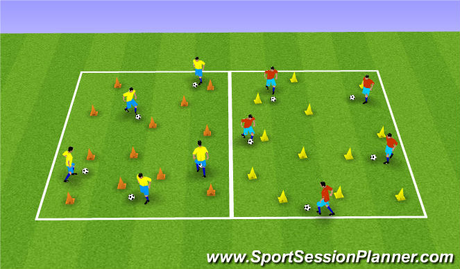 Football/Soccer Session Plan Drill (Colour): Warm up dribbling and moves