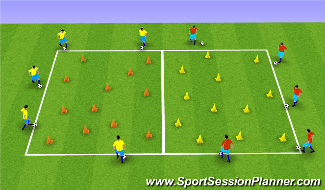 Football/Soccer Session Plan Drill (Colour): Dribbling Accuaracy
