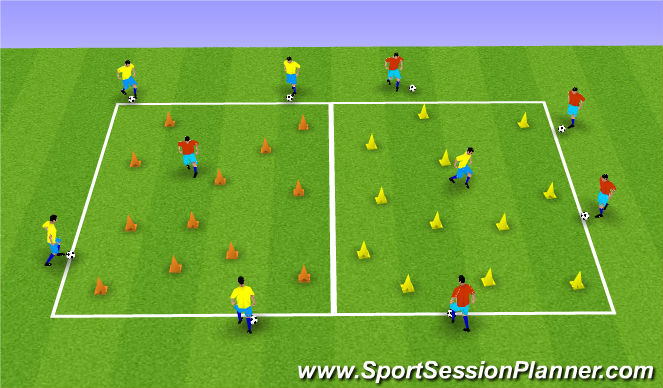 Football/Soccer Session Plan Drill (Colour): Dribbling with Opposition