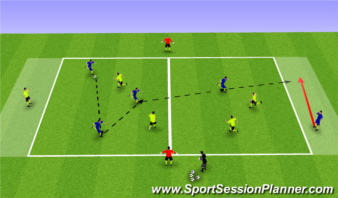 Football/Soccer Session Plan Drill (Colour): 4v4 to Targets