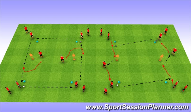 Football/Soccer Session Plan Drill (Colour): Passing and Running with Ball