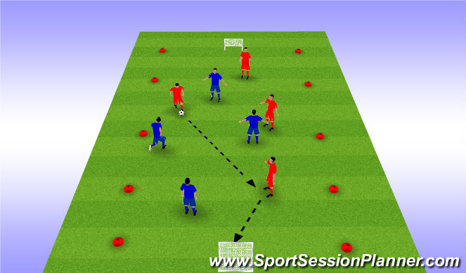 Football/Soccer Session Plan Drill (Colour): 4 v 4 Small-Sided