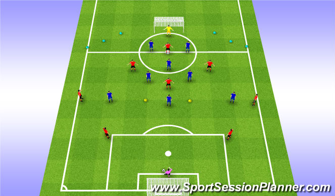 Football/Soccer Session Plan Drill (Colour): WE Phase 1/2: 9v9