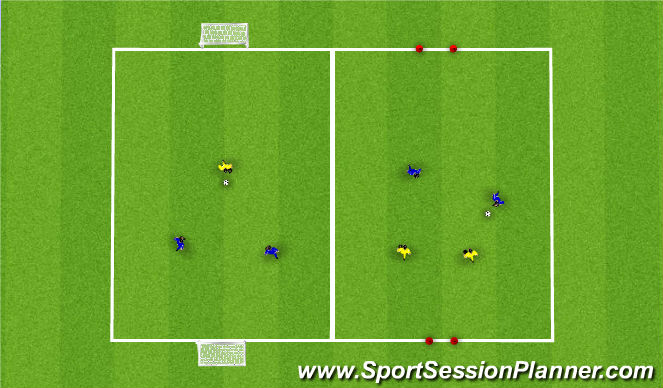 Football/Soccer Session Plan Drill (Colour): Up to 3v3 Game