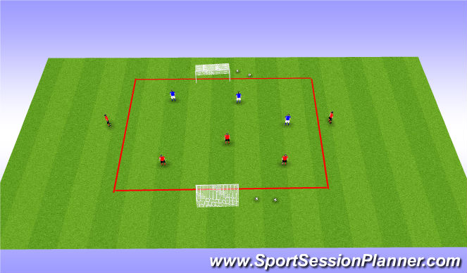 Football/Soccer Session Plan Drill (Colour): SSG with bouncer