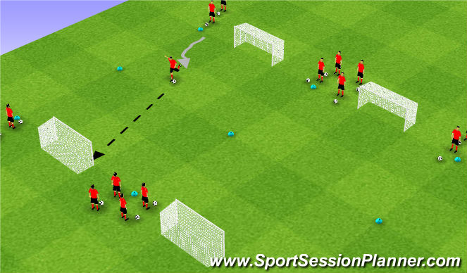 Football/Soccer Session Plan Drill (Colour): Technical: Shooting (Pepijn)